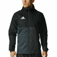Mens ADIDAS black/grey/white Hooded Jacket Full Zip Rain Tiro 17 Top size L