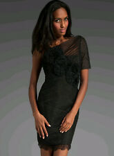 $398 BCBG BLACK (IBA6M211) ROSETTE APPLIQUE MESH DRESS NWT 12