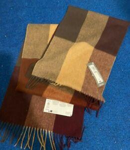 M&S Brown Beige Colour Mens Merino Wool Scarf BNWT RRP £25