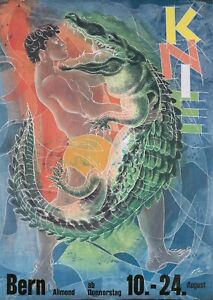 Original Vintage Poster Hans Erni Swiss Knie Circus Bern Alligator 1989