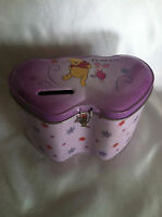 "Winnie the Pooh And Piglet Heart Shaped Collectible Tin Bank ""Best Friends"" Nice"