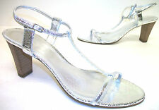 J CREW Silver Sandals 10 Heels Pumps or Shoes made in Italy