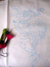 "Tray cloth ready to embroider Dragon design 14"" x 17"" CS0051"