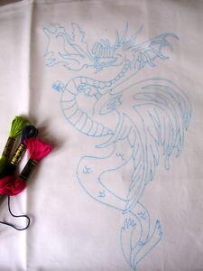 "Tray cloth ready to embroider Dragon design 14"" x 17"" CS0051"