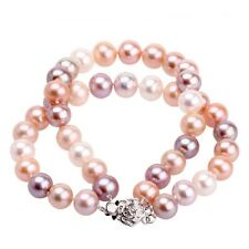 8-8.5mm Mixed-Color Doule-layer Natural Freshwater Round Pearl 7'' Bracelet
