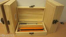Pine wood slim Pencil box case pencil Organizer fixed compartment  decoupage