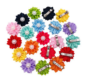 10pairs Small Dogs Hair Bows Flower with French Barrette Hair Clips Accessories