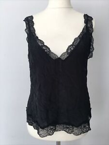FREE PEOPLE Intimately Lace PURE SILK Cami Vest Top BLACK rrp $68 MED UK 12 14
