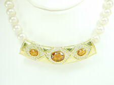 2655 SALE Enhancer for Pearl Necklace 18k Yellow Gold 2.25ct Diamond & Gem Stone