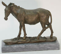 Handcrafted bronze sculpture SALE Farm Hot Cast Burro Donkey Marble Base Gift