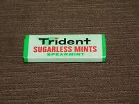 "VINTAGE 2 1/4"" LONG TRIDENT SUGARLESS MINTS SPEARMINT  TIN *EMPTY*"