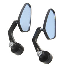 """2x Universal 7/8"""" Handle Bar End Motorcycle Aluminum Rearview Mirrors Curved Rod"""
