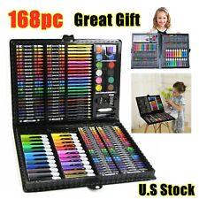 168pcs Drawing Pen Art Set Kit Color Pencils Crayon Oil Pastel Water Kids Gift