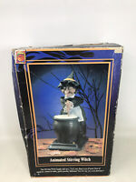 "Stirring Witch Vintage Halloween Decor 16"" Animated Eyes Lighted Talking 1995"