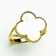 14k Solid Yellow Gold Medium Mother Of Pearl Clover Ring Size 7.75
