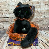 """DanDee Scaredy Cat Plush Spinning Head Green Eyes Meows Screeches 11"""" SEE VIDEO"""