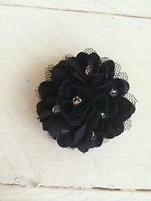 Black Diamanté Small Flower Hair Clip Small Wedding Prom Races