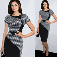Formal Women OL Business Work Stretch Cocktail Party Evening Grid Pencil Dress D