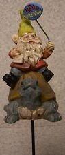 Garden Accent Hello Sunshine Gnome New freestanding or mount on a stake