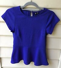COTTON ON NWT Sz XS Blue Peplum Fitted Top Short Sleeve Blouse Textured Womens