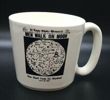 Vtg 1969 Men Walk on Moon Mug Cup Apollo 11 St Louis Democrat Newspaper Headline