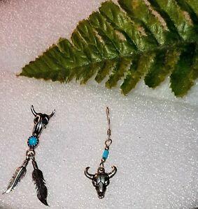 Ohrringe 925 Silber Indianer Schmuck Büffel Türkis