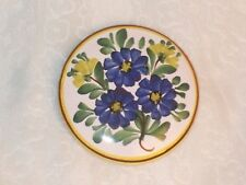 Vtg VAROSLOD Hungary PORCELAIN PIN Hand Painted Forget Me Not Flower Pottery