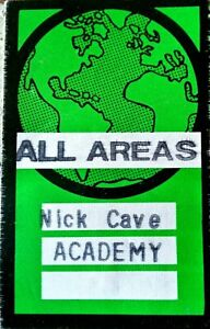Nick Cave - 2 x Used Backstage Passes - stuck together! VG condition.