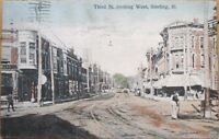 1907 Sterling, IL Postcard: Third Street/Trolley/Downtown - Illinois