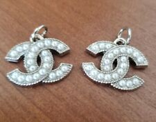 2 Chanel silver zip pulls, 21.6 mm, pearls, , stamped