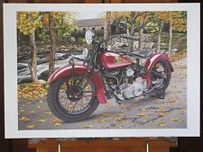 Indian Chief Motorcycle 13x19 inch Art Print Hand Signed 1 of 400