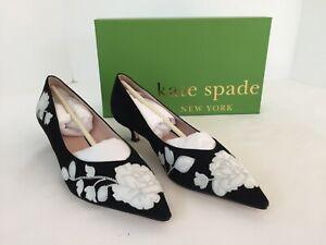 Kate Spade Daze Kitten Heels, Black and Off White 8M