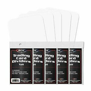 BCW TALL TRADING CARD DIVIDERS - PACK OF 50