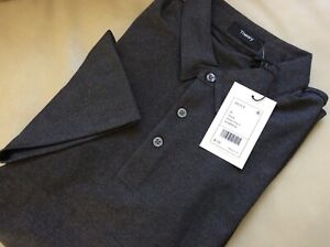 $125 NWT Theory Men's  Polo SHIRT Black Atlas Pique M Medium