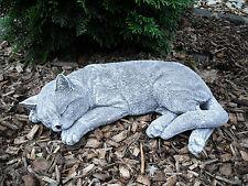 Steinfigur große Katze schlafend (40 cm)   Frostfest Steinguss Garten Haustier
