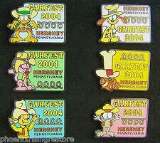 Lot 6 Garfield Pins Back Tie Tack Hat Lapel Jon Odie Arlene Pooky Nermal Garfest