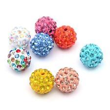 Polymer Clay Disco Ball Beads 10mm Mixed 10 Pcs Rhinestone Art Hobby Jewellery