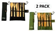 Bamboo Cutlery Flatware Tableware Set Portable Reusable 2-Pack