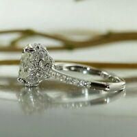 Certified 3.00 Ct Oval Cut Diamond Halo Vintage Engagement Ring 14K White Gold
