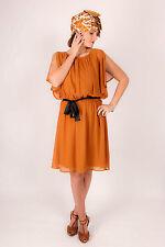 70s cinnamon rust chiffon floaty dress biho hippy festival size 10