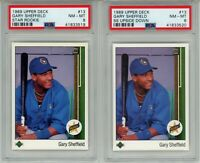 1989 Upper Deck #13 GARY SHEFFIELD RC ERROR (Upside Down SS) & CORRECTED PSA 8