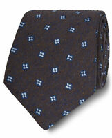T.M.Lewin Mens Made in Italy Brown and Blue Geometric Silk Wide Tie