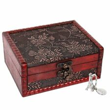 Small Vintage Jewelry Box Home Decor Wooden Treasure Chest Decorative Gift Case