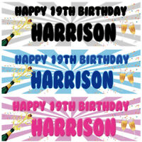 2 personalised birthday banner champagne adults party poster decoration