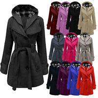 Ladies Womens Lady Hooded Coat Jacket Top Belted Fleece Warm Winter Outwear 8-20