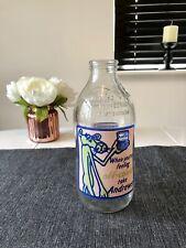 More details for vintage 1980s pink panther andrews salts advertisment glass milk bottle