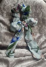 pale blue floral scrunchie with bow