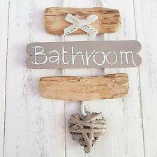 SHABBY DRIFTWOOD CHIC BATHROOM WC TOILET THE LOO WICKER HEART DOOR PLAQUE SIGN__