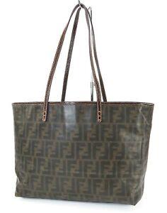 Authentic FENDI Brown Zucca PVC Canvas Tote Shoulder Bag Purse #40017
