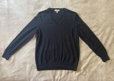 Burberry Women's Black Extra Fine Merino Wool V-Neck Pullover Sweater sz L Large